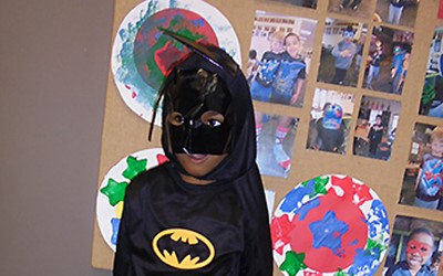 Superhero day children, teachers and parents at Lollipops Pukekohe daycare