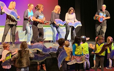 Lollipops Coatesville daycare children enjoying a puppet show at PumpHouse Theatre.